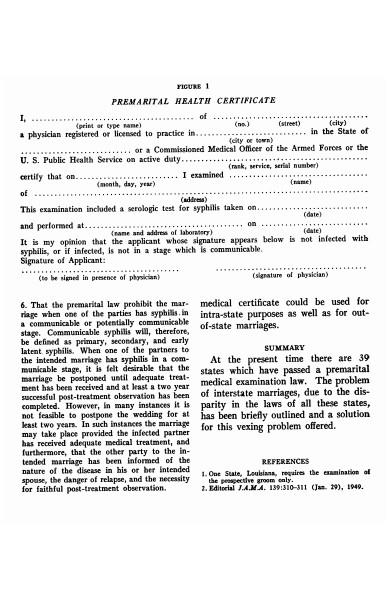 premarital health certificate form