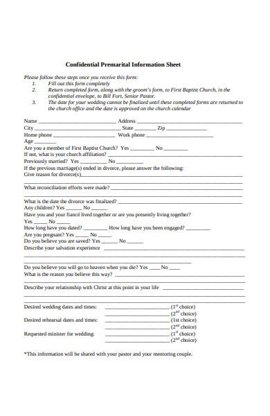 premarital information sheet form