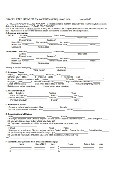 premarital intake form