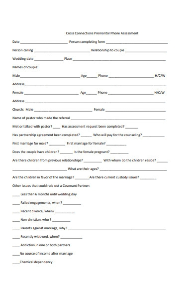 premarital phone assessment form