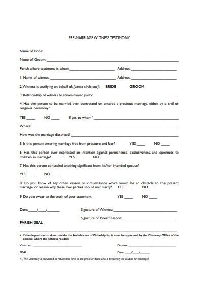 premarital witness testimony form