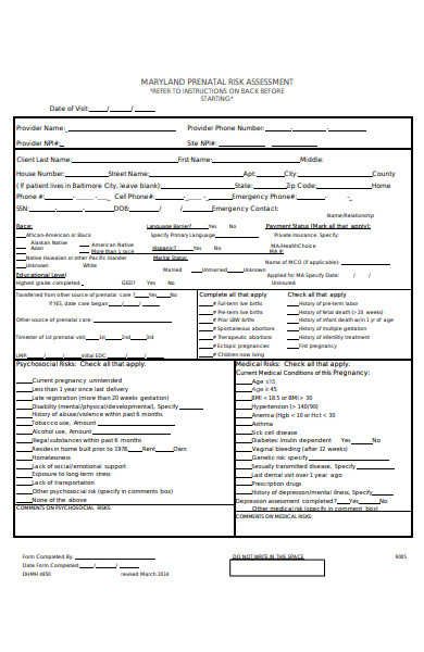 prenatal risk assessment form
