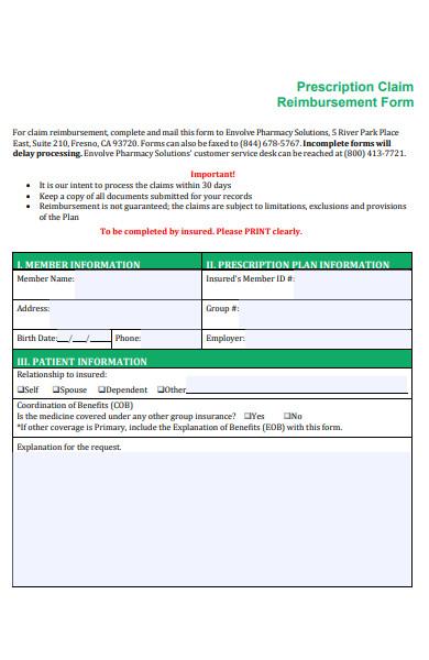 prescription claim reimbursement form