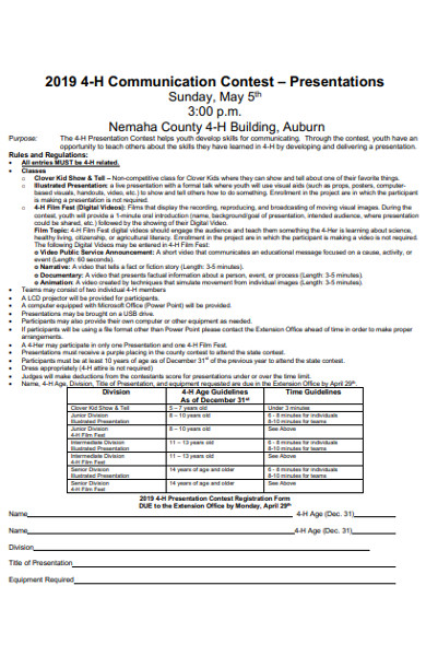 presentation contest registration form