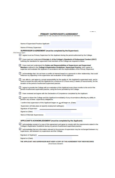 primary supervisor agreement form