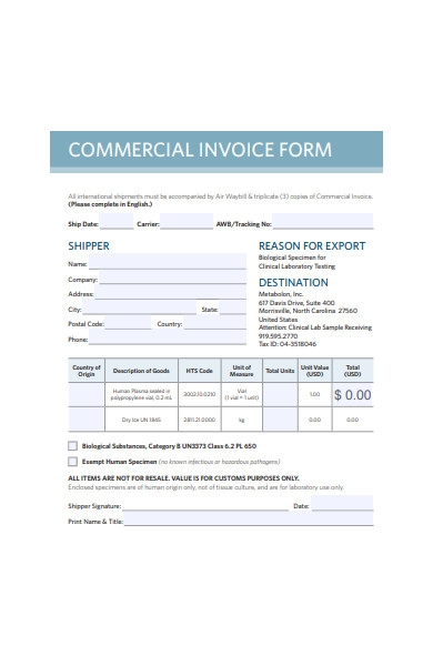 printable commercial invoice form