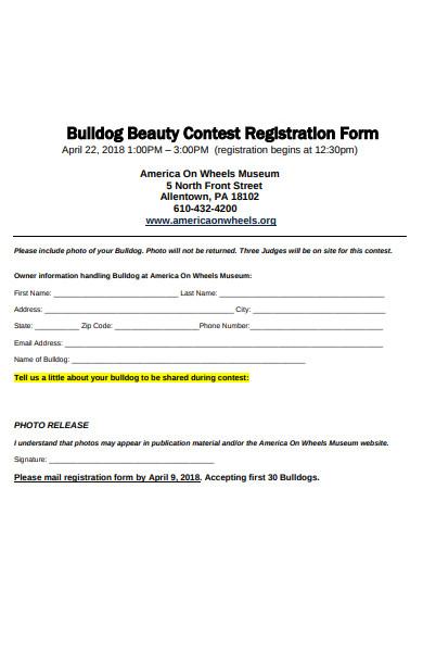 printable contest registration form