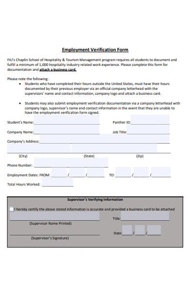 printable employment verification form