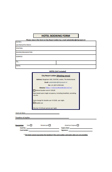 printable hotel booking form