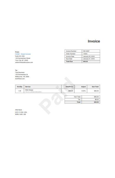 printable invoice form sample