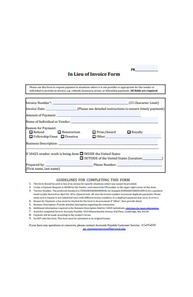 printable invoice form