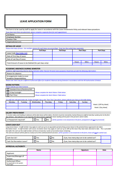 printable leave application form