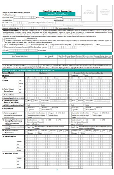 printable proposal form