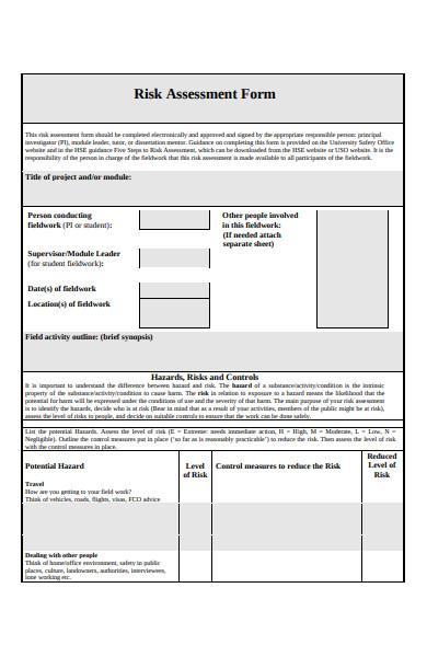 printable risk assessment form