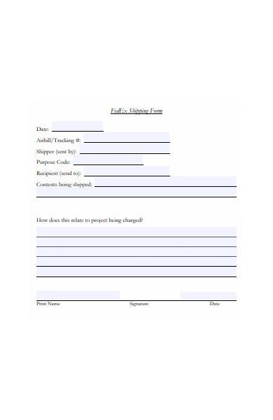 printable shipping form