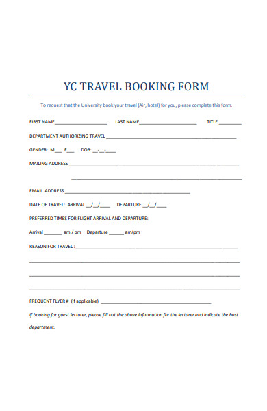 printable travel booking form