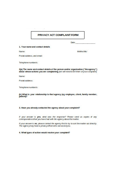 privacy act complaint form