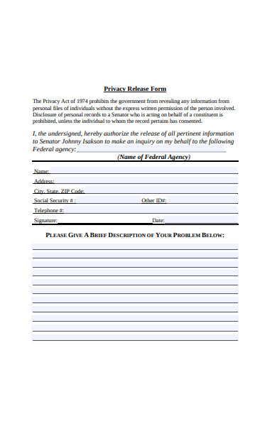 privacy release form