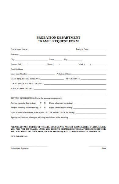 probation development travel request form