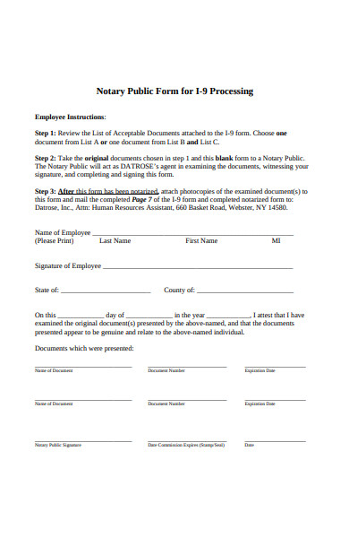 processing notary public form