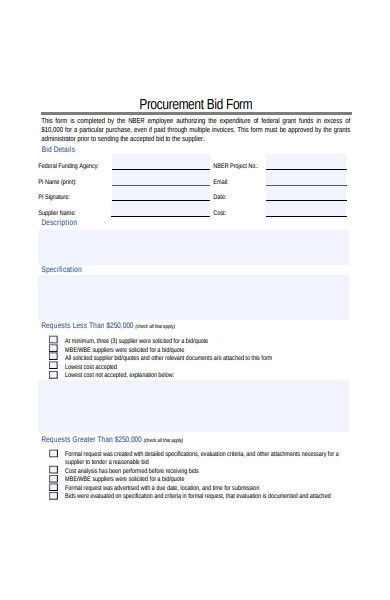 procurement bid form