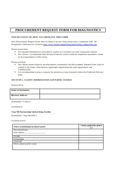 procurement information form