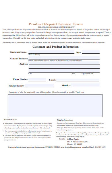 product customer service form