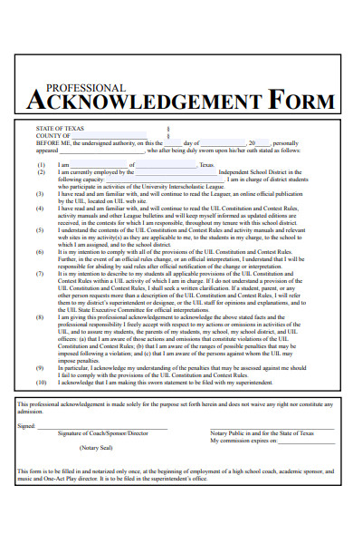 professional acknowledgement form