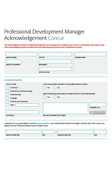 professional development manager acknowledgement form