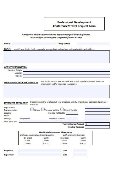 professional development travel request form