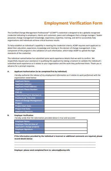 professional employment verification form