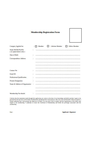 professional membership registration form