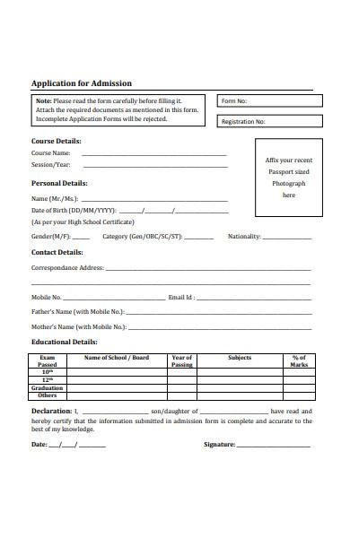 professional studies admission form