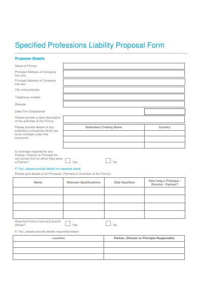 professions liability proposal form