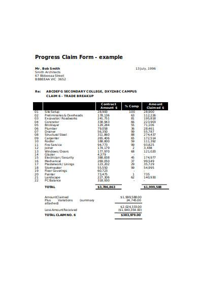 progress claim form