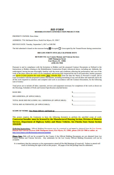 project bid form in pdf