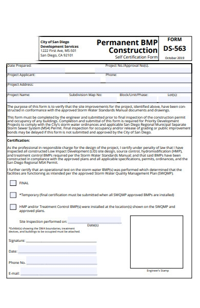 project construction form
