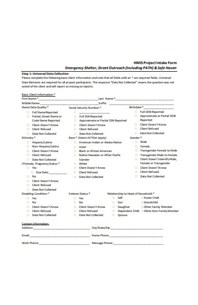 project intake form
