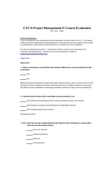 project management course evaluation form
