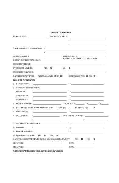 property bid form sample