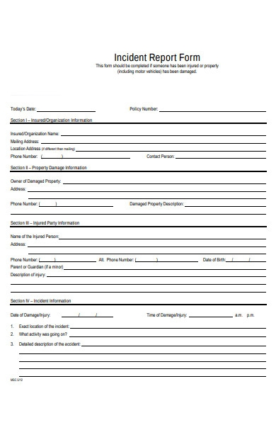 property damage incident report form