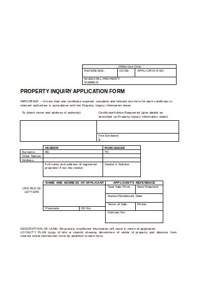 property enquiry application form