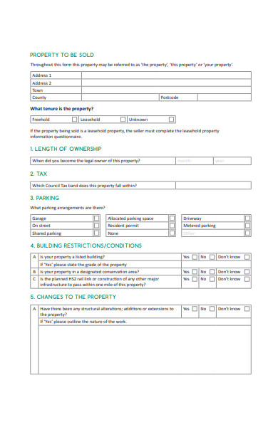 property information questionnaire form