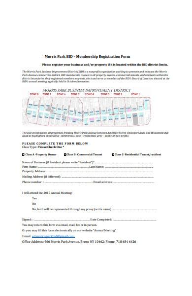 property membership registration form