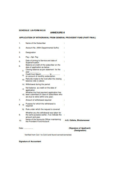 provided fund withdrawal form