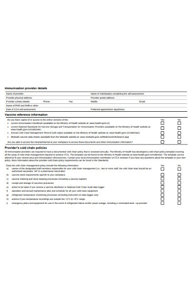 provider self assessment form