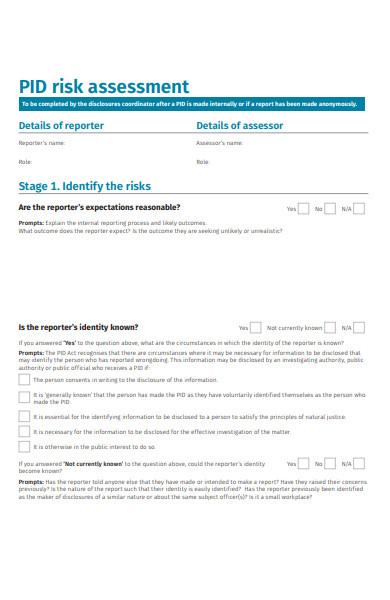 public interest disclosures risk assessment form