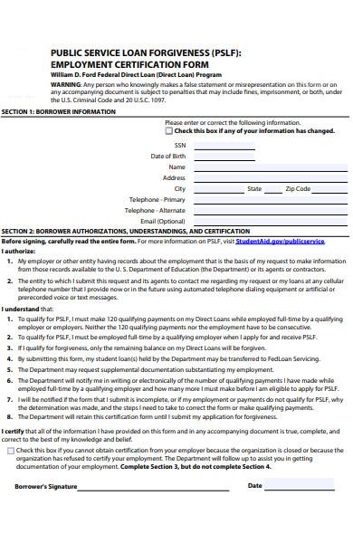 public service employment verification form