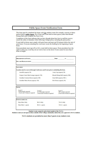 public space event notification form