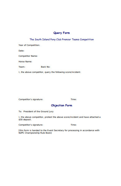 query protest form